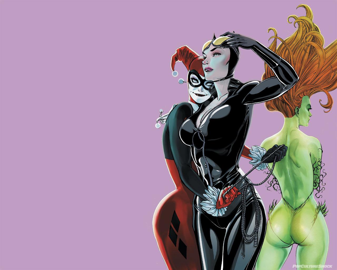 Бесплатно скачать разрешение HD Бэтмен harley Куинн catwoman ядовитый плющ
