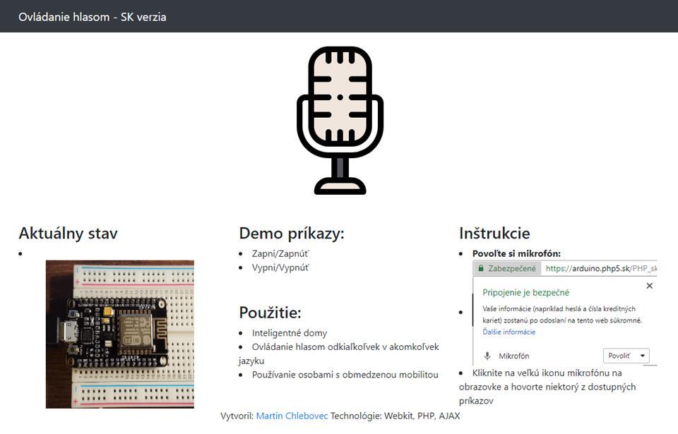 Ovládanie hlasom v slovenčine pre mikrokontroléry a mikropočítače