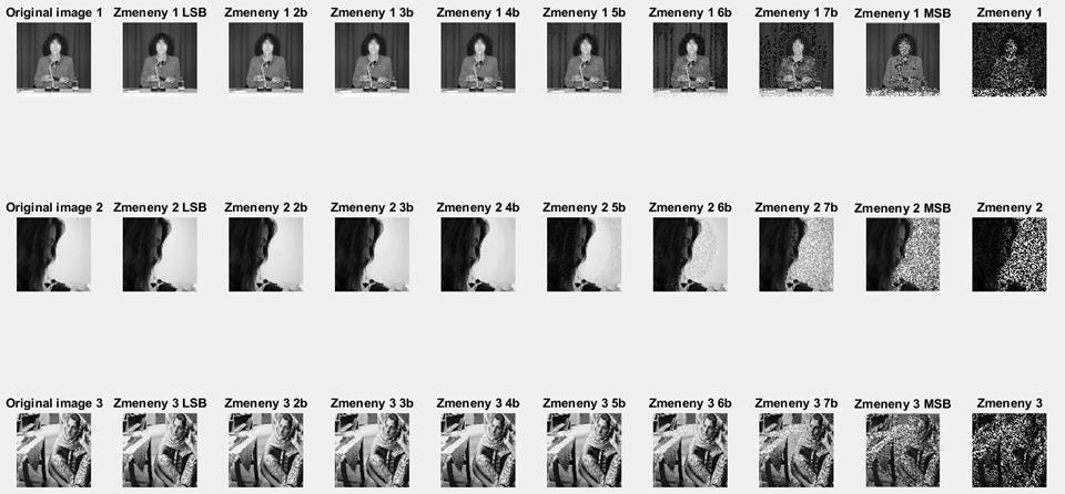 Šum v 8-bitových obrazoch - MATLAB