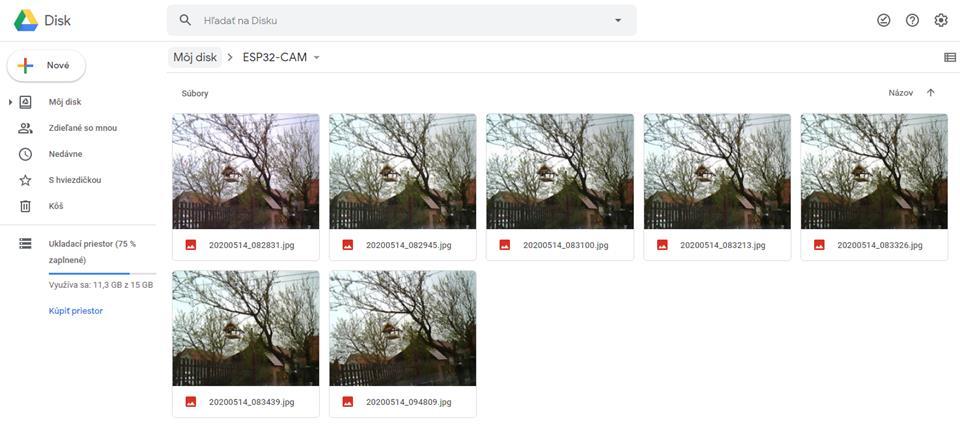 ESP-CAM - Ukladanie fotografií na Google Disk