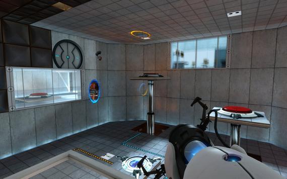 Týmto obrázkom by sa dal definovať Portal: Gravity Gun, portály, miestnosť a hádanka